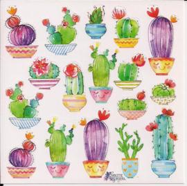 Cactussen poezieplaatjes Stickers K10