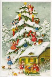 Adventskalender Kaart: Kerstboom in de sneeuw versieren - 12420