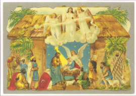 Poezieplaatjes kerststal prentbriefkaart [D0607]
