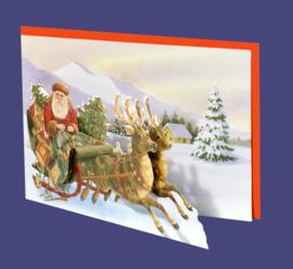 Mini 3D geschenk kaart: Kerstman met arreslee [XG-5496]