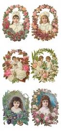 Meisjes omlijst met bloemen poezieplaatjes Stickers Y153