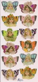 Vlinder meisjes kopjes poezieplaatjes Stickers P72