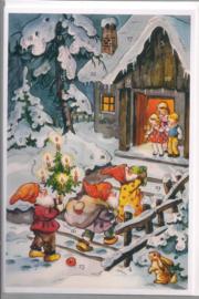 Adventskalender Kaart: Dwergjes bezorgen cadeautjes - 12489