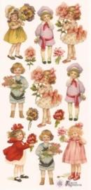 Nostalgische kinderen met bloemen poezieplaatjes Stickers C03