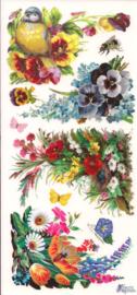 Boeketjes met vogel en viooltjes poezieplaatjes Stickers C78