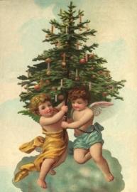 Engeltjes met versierde kerstboom Reliefkaart EF 3009