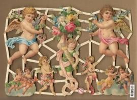 Engelen met bloemenkelk poezieplaatjes 7244