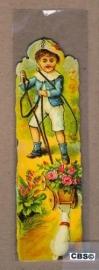 Nostalgische boeklegger kind met bloemenkar (poëzieplaatjes)