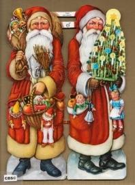 Grote Kerstmannen met pakjes poezieplaatjes GL7050