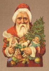 Kerstman met armen vol cadeautjes poezieplaatjes 5150