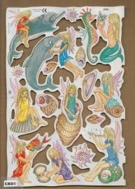 Elfje in schelp met Dolfijnen poezieplaatjes MLP 2009