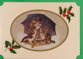 Christmas Catland kaart: Poesjes onder paraplu [XC-3125]