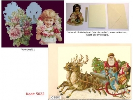Sierkaart 5022: Kerstman in Rendierslee Poëzieplaatjes