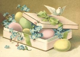 Cadeaudoos met pastel paaseieren en duif Reliefkaart EF 3041