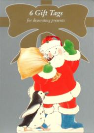 6 Gift Tags: Kerstman met zak cadeau's [XT-1237/6]