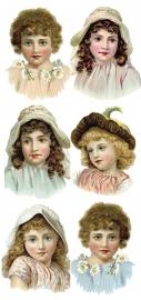 Pastelkleurige dametjes poezieplaatjes Stickers Y140