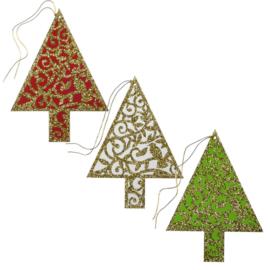 Cadeaulabels Glitter kerstbomen 3 stuks