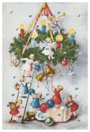Adventskalender Kaart: Engelen versieren krans - 12399