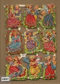 Vintage kindertjes poezieplaatjes Half vel + glitter WS 634