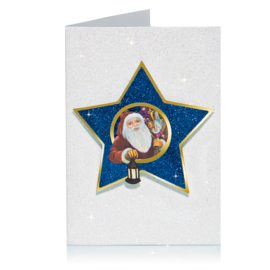 Glitter 3D Ster Kerst kaart: Kerstman met lantaarn [XC-5481]