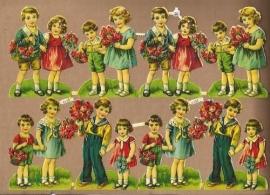 PZB 1133 B Kindjes met bloemen poezieplaatjes