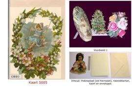 Sierkaart 5005: Voorjaarskrans schommelen Poëzieplaatjes