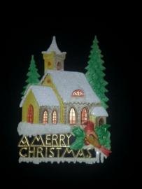 Groot zeer oud poezieplaatje kerk met kerst hard papier