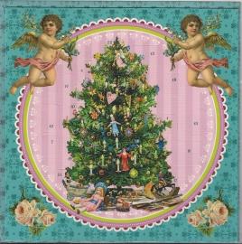 12442 Adventkalender Kaart: Versierde kerstboom met Engeltjes