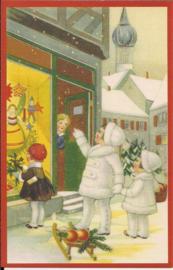 Etalage voor kerst bekijken prentbriefkaart [SV W182]