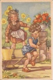 Corina - Kindjes tuinieren oude kinderkaart [10335]