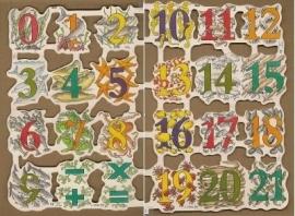 Cijfers 1 - 21 met Zeedieren poëzieplaatjes MLP1843 & 1844
