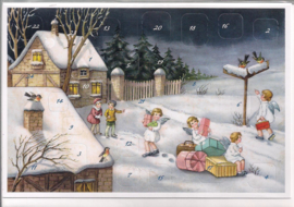 Adventskalender Kaart: de cadeaus worden bezorgd - 12363
