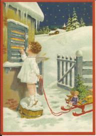 Engel klopt aan met cadeautjes Glitter prentbriefkaart [SV 6Wg022]