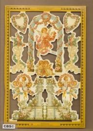 Engelen met bloemenboog en pilaren poezieplaatjes A 166