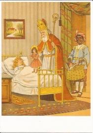 Sinterklaas komt bij ziek kindje prentbriefkaart [D1236]
