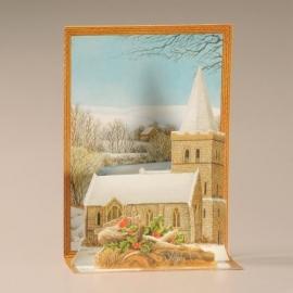 Cascade uitklapkaart: Kerstkerkje met roodborstjes