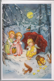 Adventskalender Kaart: Engeltjes in de sneeuw - 12488