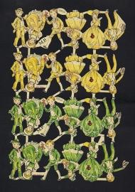 M.P. 589 Groene en Gele kinderen poezieplaatjes