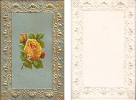 Antieke kaart met poezieplaatje Gele Roos goudopdruk