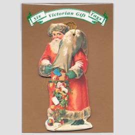 6 Victoriaanse Gift Tags: Kerstman met zak cadeautjes [XT-0386/6]