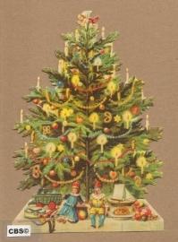 Kerstboom met kaarsjes & cadeau`s poezieplaatjes 5050