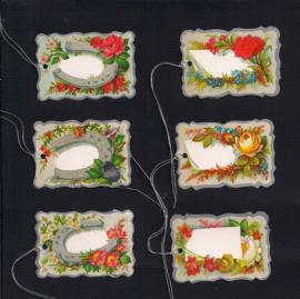 Cadeaulabels Hoefijzers en bloemen 6 stuks