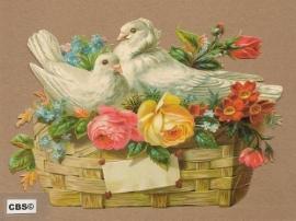 Duifjes in bloemenmandje poezieplaatjes 5058