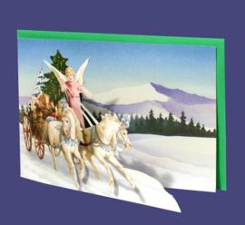 Mini 3D geschenk kaart: Engel met ponywagen [XG-5491]
