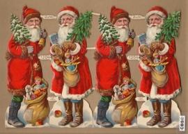 Kerstmannen met kerstbomen enkel vel poezieplaatjes Z&M 1204