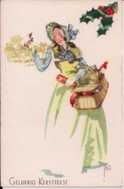 Gelukkig Kerstfeest - jonge dame met boodschappenmand [14237]
