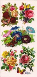 Bloemen met vlinders poezieplaatjes Stickers C54