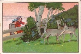 Oude Litho: dames kijken naar de hertjes