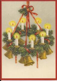 Kerstklokken krans met kaarsen Reliefkaart [SV 6Wp045]