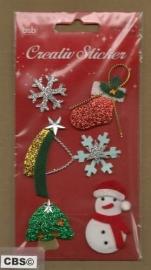 Kerststickers met glinsters en Kerstsok
